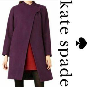 Kate Spade Saturday plum Wool Fencing Coat